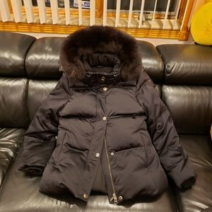 Coach Down Coat with Fox Fur Hood Trim